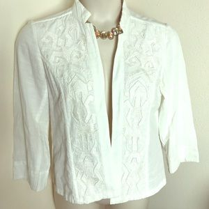 Chicos White Tribal Embroidered Blazer Beads large